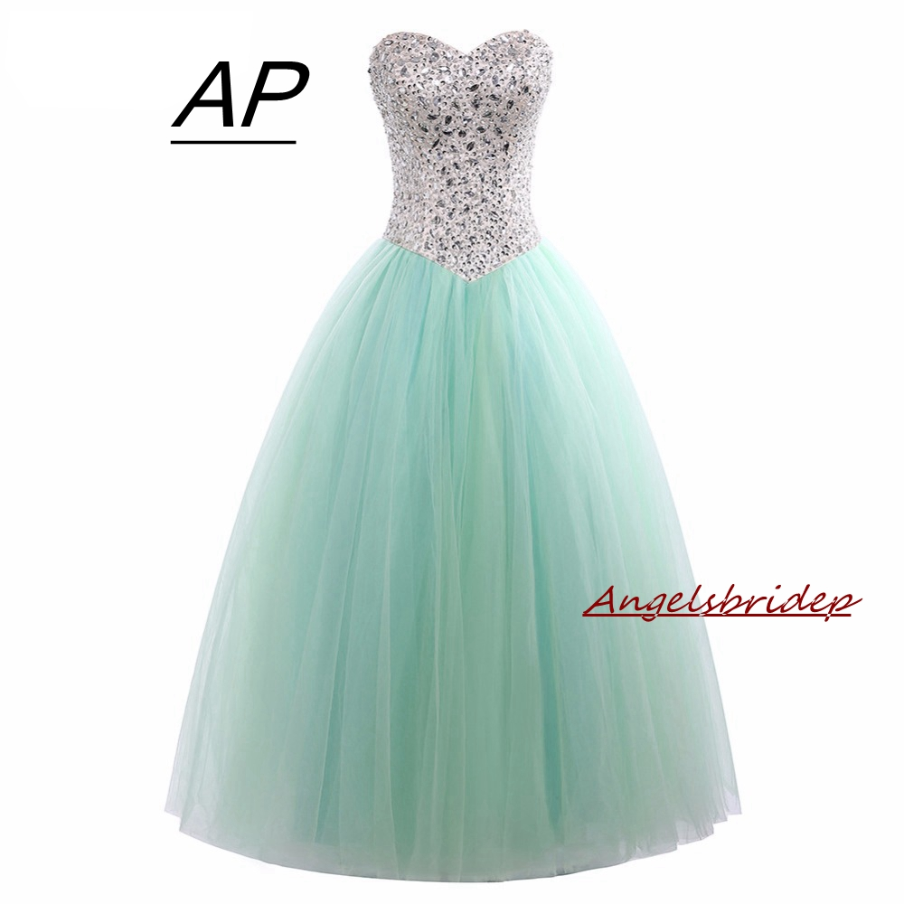 Angelsbridep Mint Green Beach Ball Gowns Quinceanera Dresses 2019 Crystal Tulle Vestidos De 15 Anos New