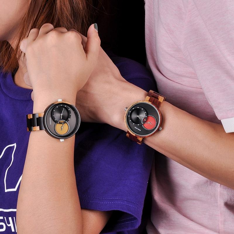relogio masculino BOBO BIRD Watch Men 2 Time Zone Wooden Quartz Watches Women Design Men's Gift Wristwatches In Wooden Box W-R10 6