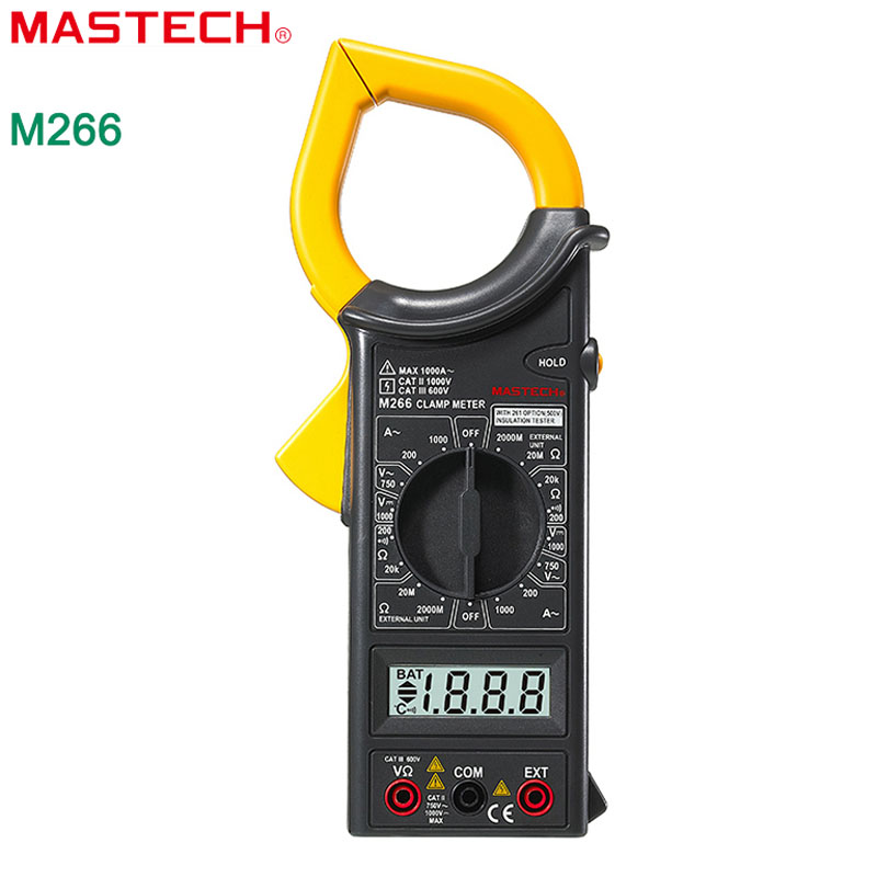MASTECH M266 Digital Clamp Meter AC/DC Voltage AC Current Resistance Frequency Tester with temperature measurement Free shipping  цены