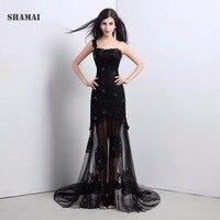 SHAMAI Elegant Romantic Black lace Appliques Evening dress long One Shoulder Formal party dress Mermaid Evening Party Gown