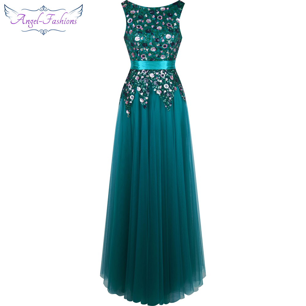 Angel fashions Ruched Sashes Backless Floral Sequin Long Evening ...