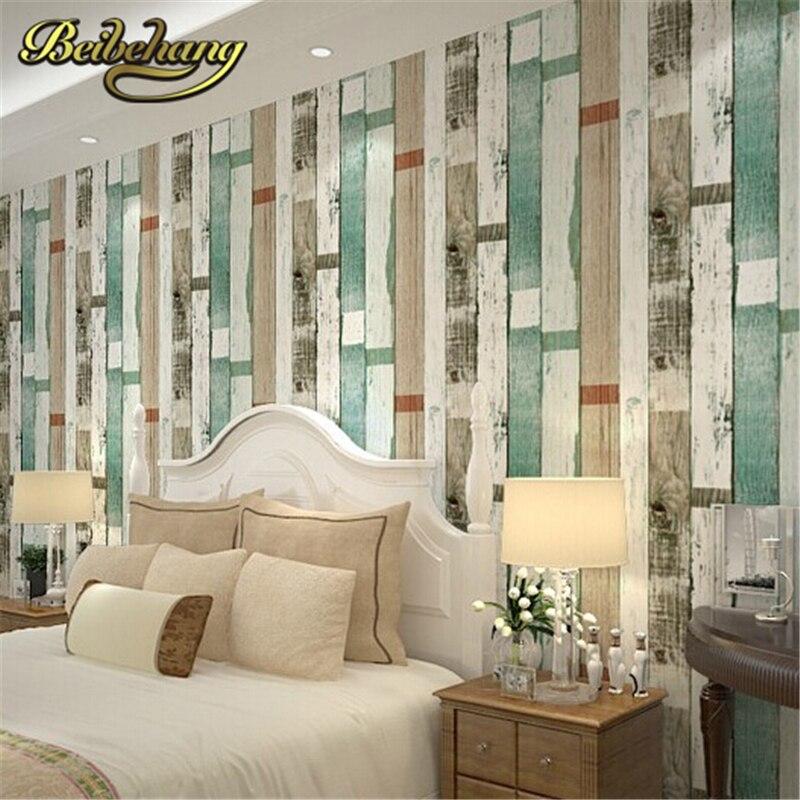 Beibehang papier peint bois rayé PVC/vinyle papel de parede bois rustique ferraille bois récupéré papier peint bois naturel Beige bleu