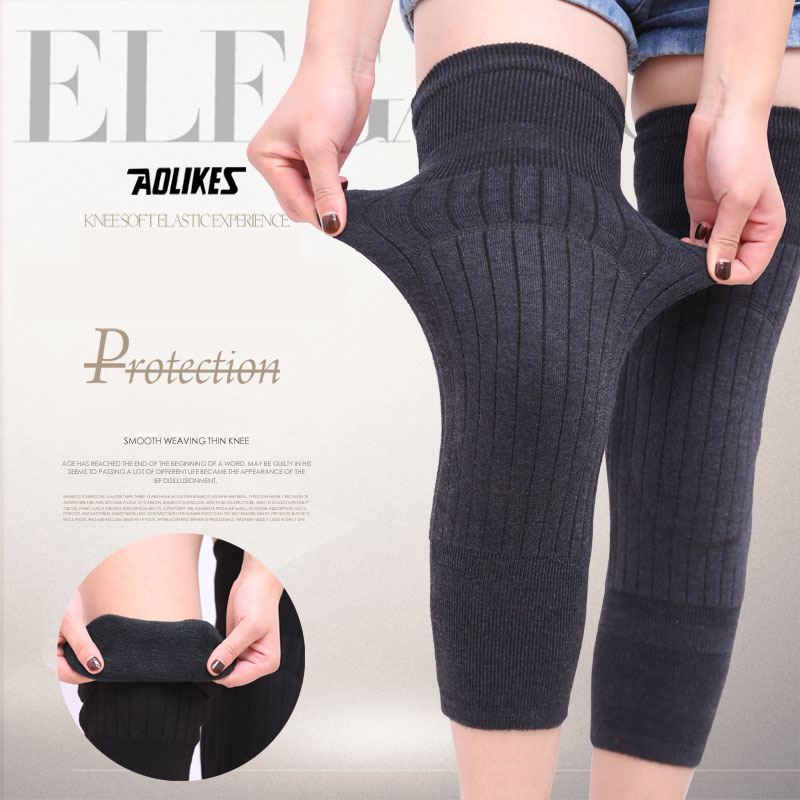 AOLIKES 1 Pair Cashmere Warm Kneepad Wool Knee Support Men and Women Cycling Lengthen Prevent Arthritis Knee Pad