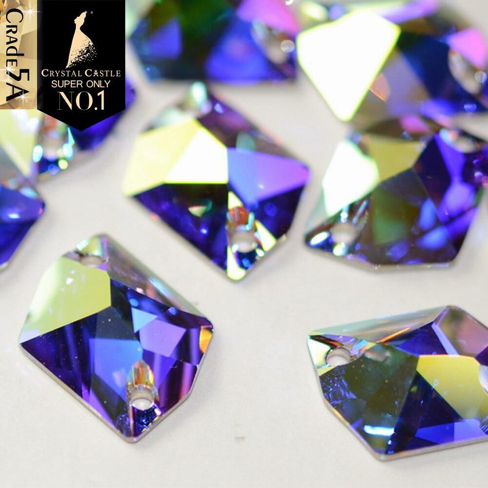 Crystal Castle AB 3256 Galactic 3265 Cosmic Glass Sew On Strass Sewing Stone Flatback Hole Rhinestone For Bridal Dress