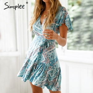 Image 2 - Simplee Bohemian baskı yaz elbisesi kadınlar Ruffled kısa kollu sashes mini elbise Wrap v yaka seksi bayanlar elbiseler vestidos 2019