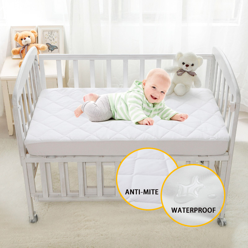 Brushed Fabric Quilted Anti-mite Mattress Protection Cover Breathable Waterproof Cover for Baby 28*52*6inch/71*132*15cm