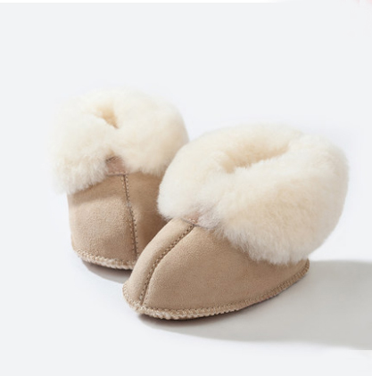 T.S. First Walkers Newborn Winter warm Fur Nature Shipskin Genuine Leather Baby boys shoes Girls Infant Toddler First Walkers