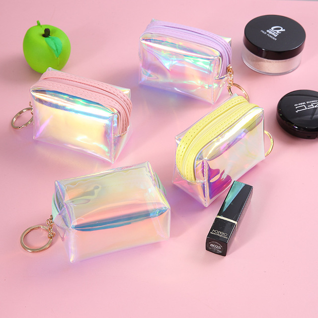 6323152fbf13 US $2.28 35% OFF|BBL Small Cute Clear PVC Lipstick Cosmetic Bag Women  Makeup Organizers Hologram Laser Pouch Travel Toiletry Bags Beauty Box-in  Eye ...