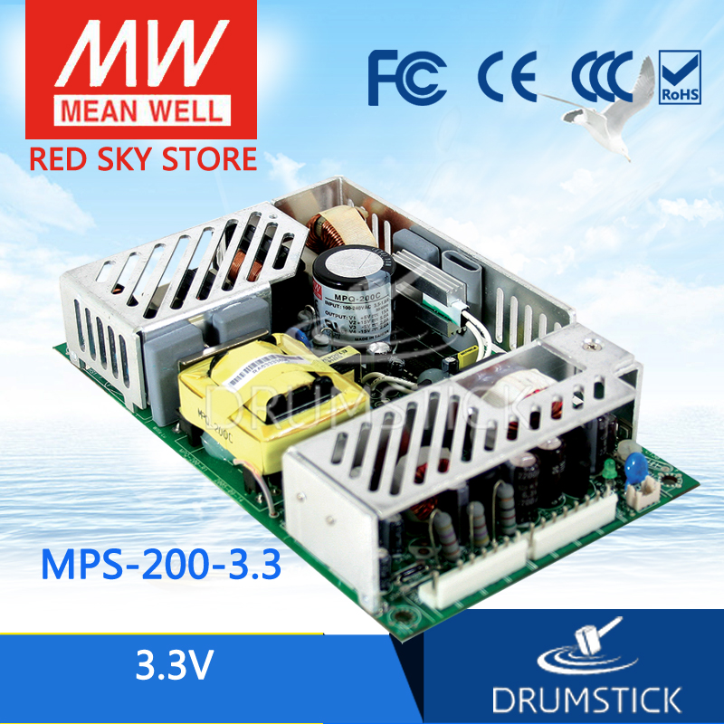 MEAN WELL MPS-200-3.3 3.3V 40A meanwell MPS-200 3.3V 132W Single Output Medical Type хай хэт и контроллер для электронной ударной установки millenium mps 200 mono cymbal pad