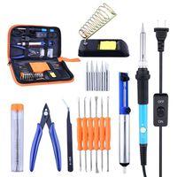 60W 110V Soldering Iron Kit with Adjustable Temperature Welding Iron Aid Tools+Tips+Tweezers Solder Sucker Solder With PU Bag