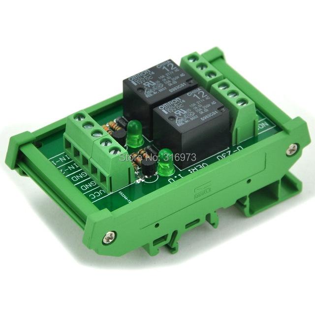 Montaje En Carril DIN 2 SPDT Relé de Potencia De Módulo de Interfaz, OMRON Relé de 10A, 12 V Bobina.