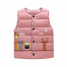 cotton vest kids for girls boys autumn winter outwear sleeveless jacket children high quality feather cotton cartoon style top