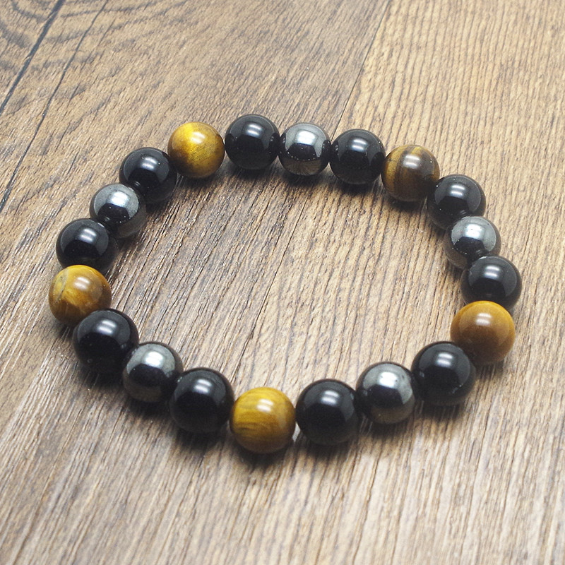 Tiger Eye & Hematite & Black Obsidian 10mm Stone Bracelet Handmade DIY jewelry