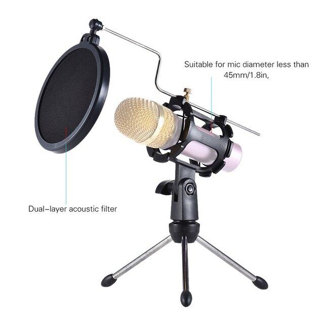 Desktop Microphone Tripod Stand Adjustable Microphone Stand Holder Mic Stand Tripod for Microphone Pop Filter