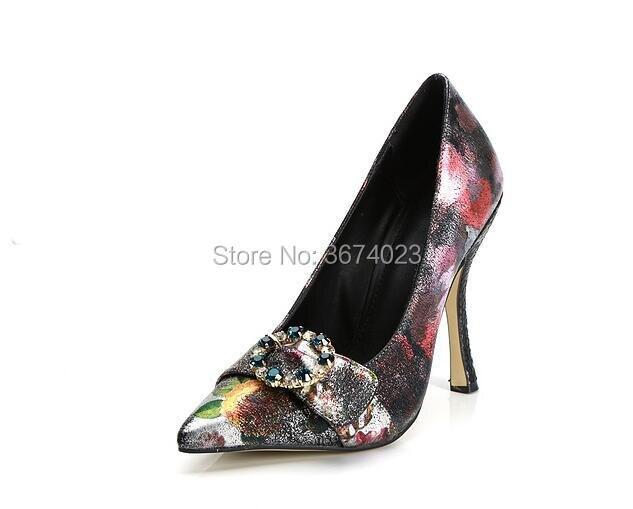 Dame Muster Schuhe Mit Top Distressed Cm Floral Heels Pumpen Kristall 10 Gürtel High Qianruiti Patchwork Mischfarbe Stiletto nZTxPqa