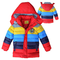 New Winter Down Boys Jacket Multicolour Striped Heavy Thick Keeping Warm Children Coat Removable Hooded Outwear Kids Clothing