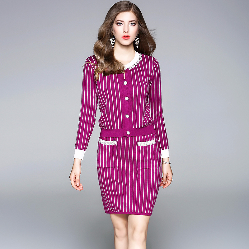 Suits Women Two Pieces Set Cotton Blended Knitted Stripes Beading O Neck Long Sleeve Pockets Skirts 2 Colors Fashion Style 2018