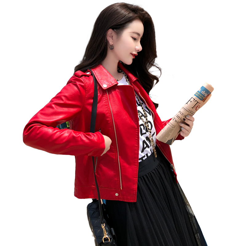 Autumn Winter Street Women's Short Washed PU Leather   Jacket   Zipper Bright Colors Ladies   Basic     Jackets   YF272