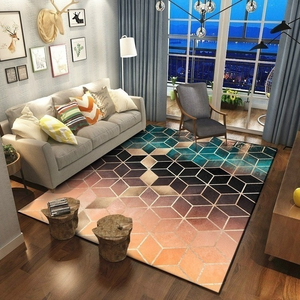 Us 19 99 50 Off Rose Gold Pink Green Modern Area Rugs Geometric Pattern Carpet Nordic Simple Coffee Table Rug Mat For Living Room Bedroom In