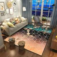 Rose Gold Pink/Green Modern Area Rugs Geometric Pattern Carpet Nordic Simple Coffee Table Rug Mat for Living Room Bedroom