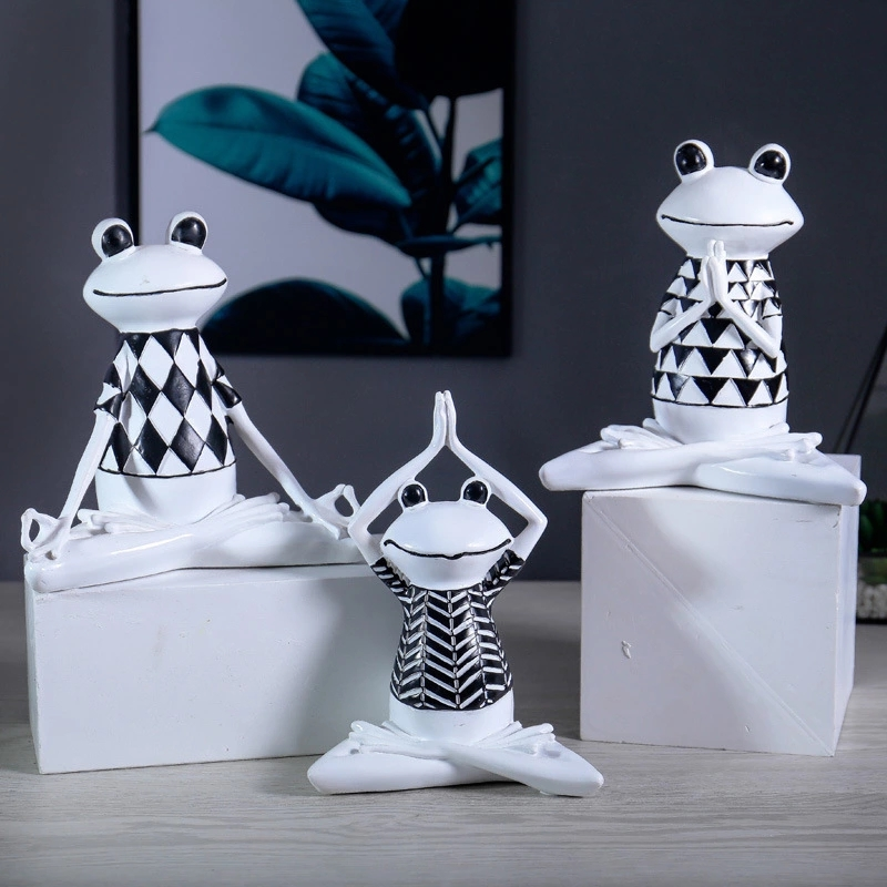 Nordic resin yoga frog home creative decoration TV cabinet living room ornaments