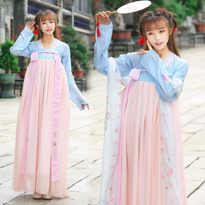 Chinese Style Hanfu Spring And Autumn Daily Adult Female Students Traditional Costume Embroidery Pattern Photo Set