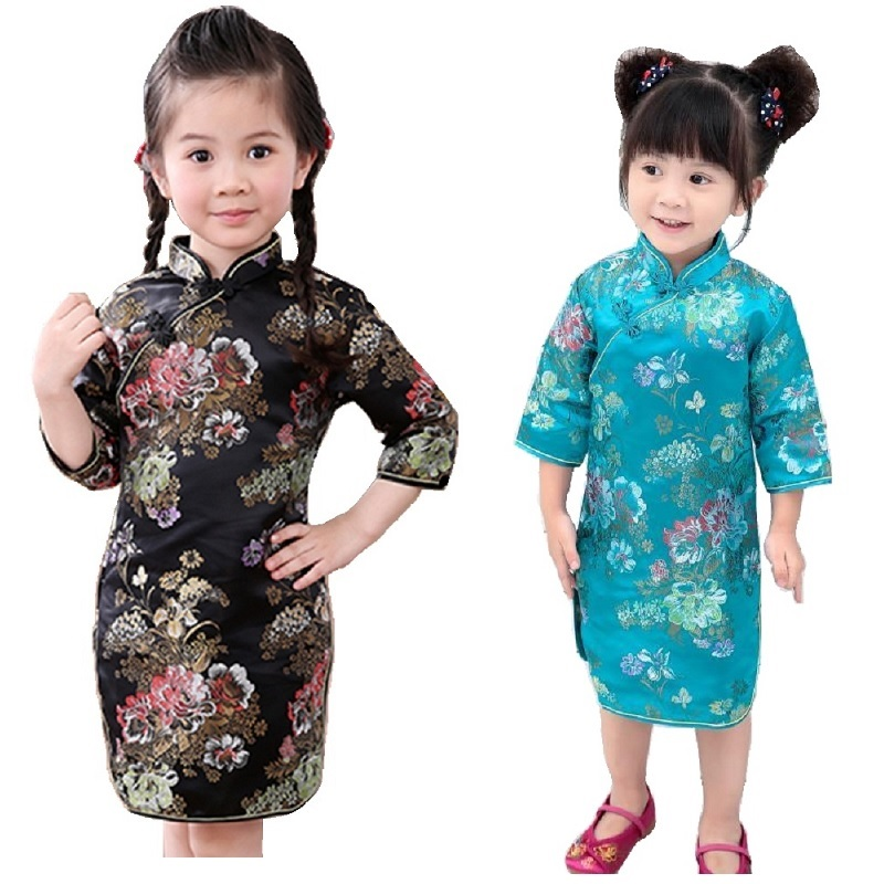 Peony Baby Girls Dress 2018 Chinese Qipao Clothes For Girls Jumpers Party Costumes Floral Children Chipao Cheongsam Jumper 2-16Y 1