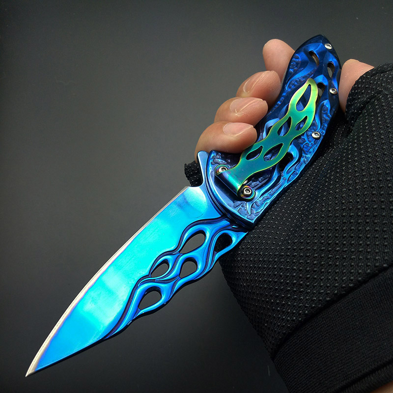 Tools : Blue Fire Flame Fold Knife blue Titanium Artwork Blade Handle Folding Knife Collect knife 440C Rainbow belt clam