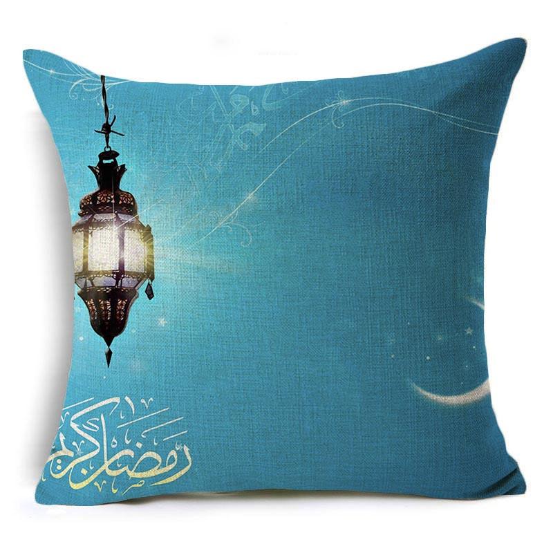 Happy Eid Mubarak Pillowcase Ramadan Decoration Islamic Muslim Lantern Print Cushion Cover Kareem Eid Gifts Islam Party Supplies