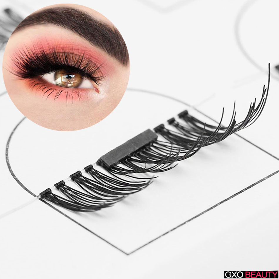 GXO BEAUTY 4 Pcs/Pairs 3D Hand Made Fake Eyelashes Extension Natural Soft Thin Makeup Easy To Wear Soft-S1/N1023