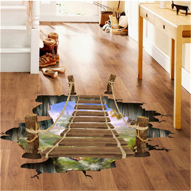 3D Wall Stickers Bridge Floor/Cartoon Animals Wall Sticker For Kids Rooms Home Decor Vinyl Decals Art Sticker Wall Poster