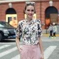 2017 Новая Мода Печатных Дизайн Половина Рукава Шифон Блузка Для Женщин Лето Старинные Рубашки Блузка Рубашка