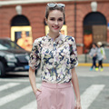 2017 New Fashion Printed Designs Half Sleeve Chiffon Blouse For Women Summer Vintage Shirts Blouse Shirt
