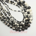 "wholesale Natural Stone Black white zebra Jasper Round Beads 15.5"" Pick Size 4 6 8 10 12mm Free Shipping (F00167)"