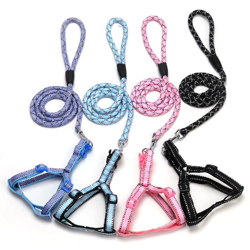 Hot Sale Round Rope pet dog leash harness Pet dog harness for small Medium and large dogs 4 color 3 sizes ...
