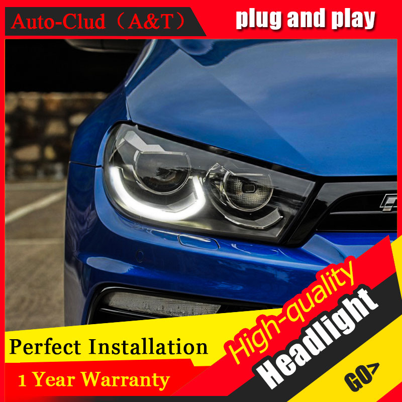 Auto Clud Car Styling For VW Scirocco headlights 09-14/15 For Scirocco head lamp led DRL front Bi-Xenon Lens Double Beam HID KIT auto clud style led head lamp for benz w163 ml320 ml280 ml350 ml430 led headlights signal led drl hid bi xenon lens low beam