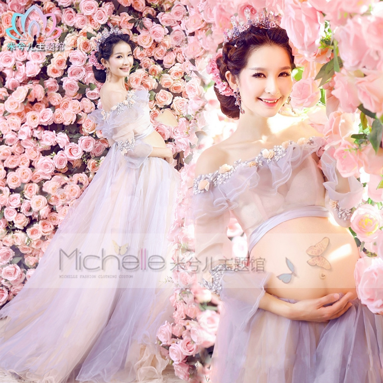 maternity photography props long lace colorful flower magic fairy romantic cute dress pregnant fancy photo shoot