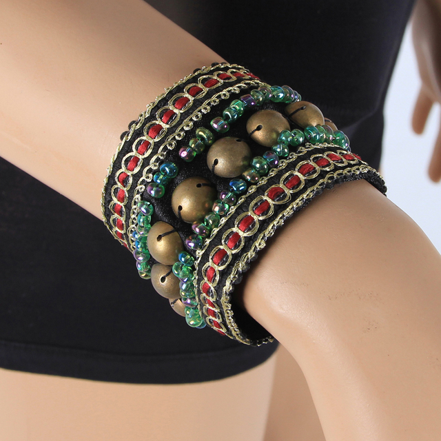 2019 2 Pieces Set Tribal Belly Dance Costume Accessories Bronze Beads Wristband & Armband Adjustable Fit Gypsy Jewelry Bracelets