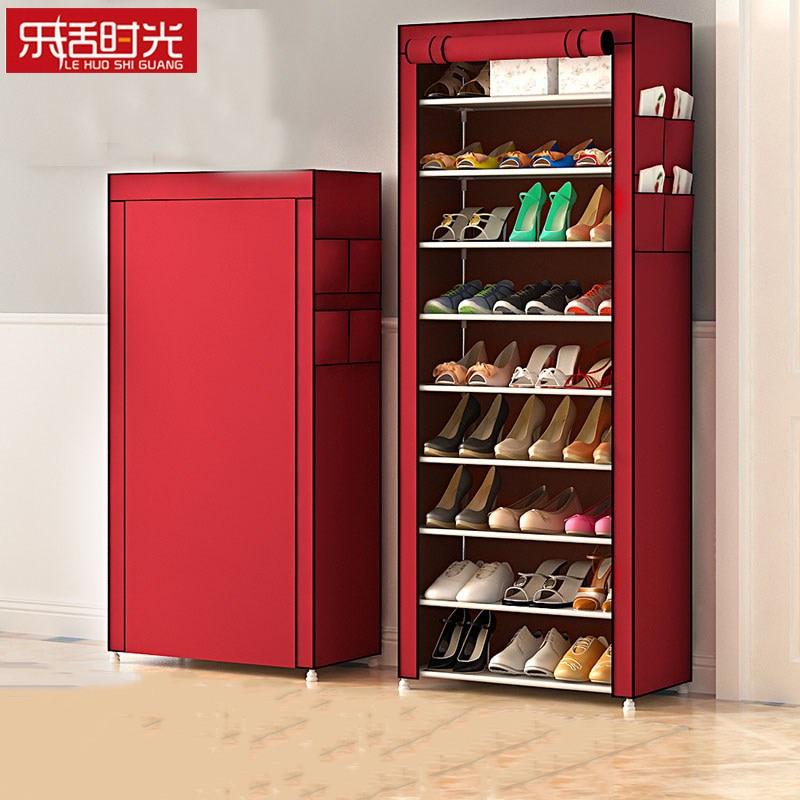 10 Tiers Simple Shoe Rack Shoe Storage Dustproof Oxford Cloth Assembly Shelf Cabinet Space Saving Shoe