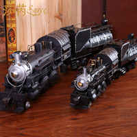 New Steam Retro Model Train Locomotive Accessories Gift Tin Handmade Ornaments
