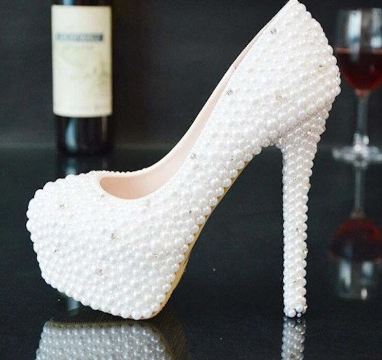 WHITE pearls platforms wedding pumps shoes woman slip on round toes super high heels brides ladies pearls party pumps shoe HS135 hot sale room decoration simulation flower jasminum nudiflorum home decor