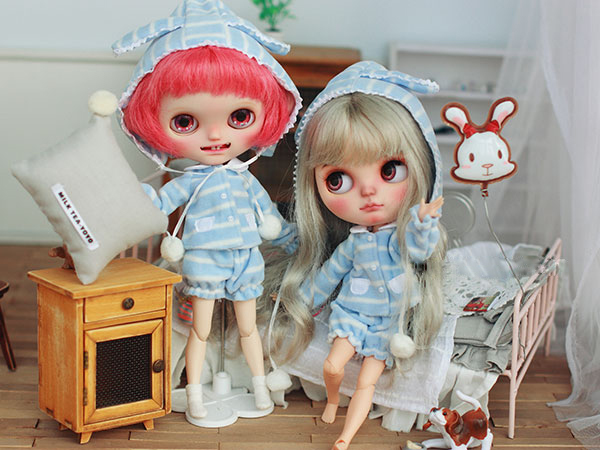 BJD doll clothes blue white cap top pant pajamas suit for BJD Blyth Azone Licca doll clothes accessories