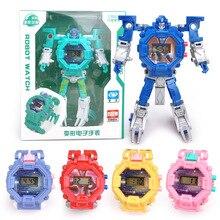 Робот трансформация наручные часы игрушка меха Робот Электронные часы детские спортивные Мультяшные часы Детские Рождественские подарки#820