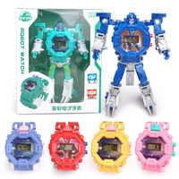 Robot Transformation Wristwatch Toy Mecha Robot Electronic Watch Children Sports Cartoon Watches Kids Xmas Gifts #820