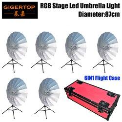 6IN1 pakiet Flightcase kolorowe RGB parasolka LED dekoracja do tła światła wyposażone kontroler statyw/torba do zawieszenia opcjonalnie