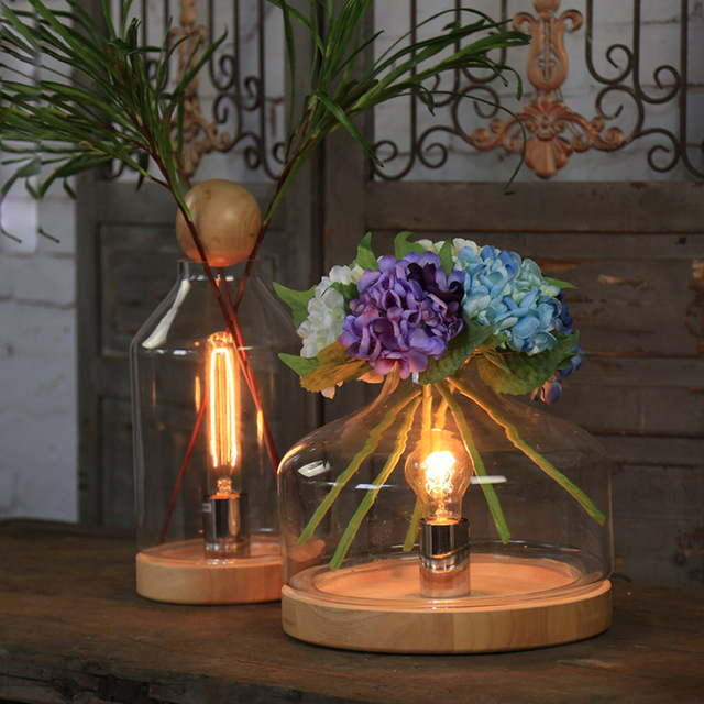 1pc Sl Wood Baseglass Shade Flower Vasetable Lamps Coffee Store