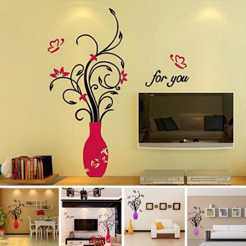 3D Wall Sticker Acrylic DIY Vase Flower Tree Crystal Wall Stickers ...