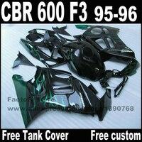 Kit de carenado + tapa Del Depósito para HONDA CBR 600 F3 carenados 1995 1996 95 96 llamas verdes en la carrocería negro sets CN62