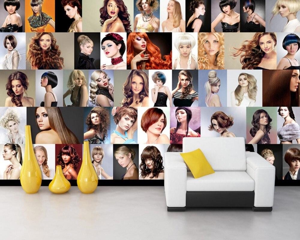 Free Shipping Popular Hair Style Design Barber Shop Hairdressing Tooling Background Wall Hair Salon Wallpaper Custom 3D Mural