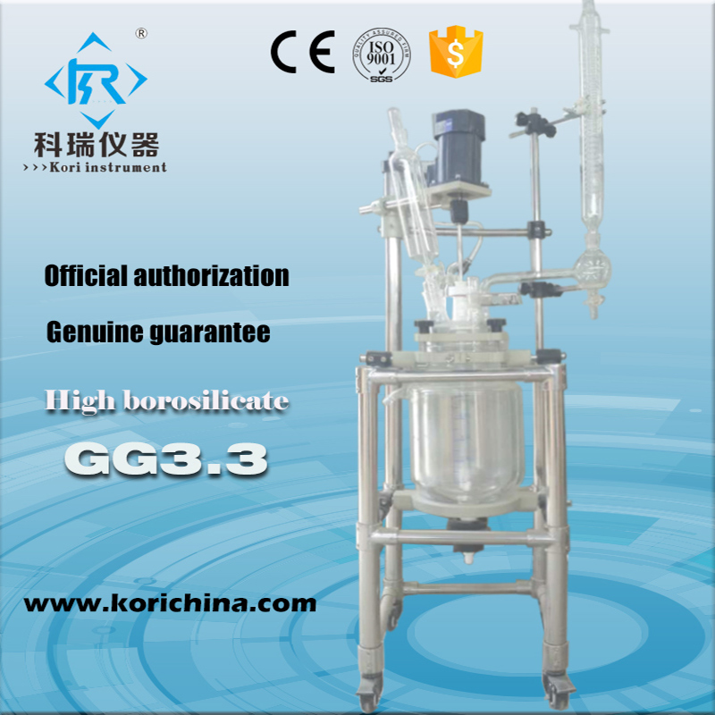 Double-layer Cylindrical 5L glass Jacket type Reactor Chemical reaction unit все цены